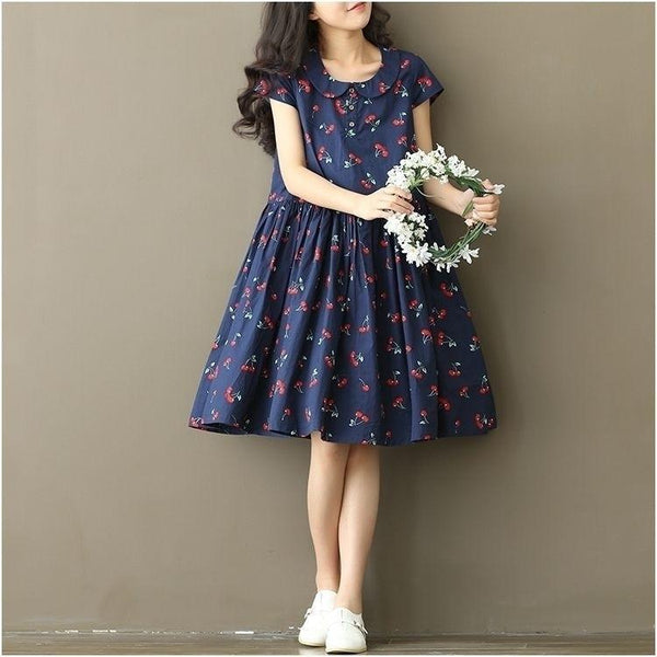 White/Navy Blue Cherry Print Dresses - kawaiimoristore
