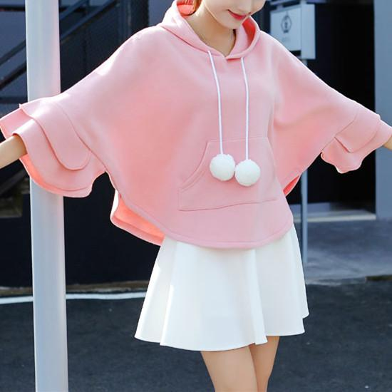 Winter Ruffle Fleece Hoodie Cape Cloak KW1710667
