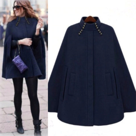 Woman Winter Turtleneck Sleeve Long Cape K13192