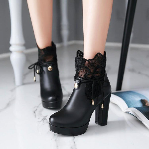 Women Fashion Lace Pu Heels Boots KW1711231
