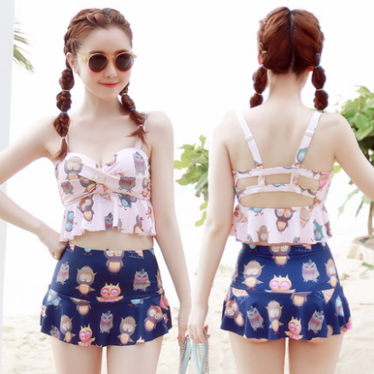 Sweet Printed Bikini Skirt Two-piece Outfit
