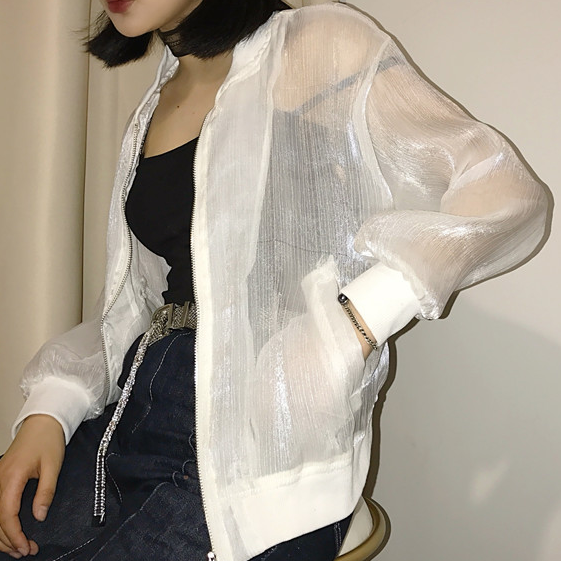 White/black/grey Gauze Transparent Coat KW1811612