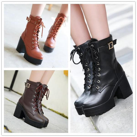 Yellow/Brown/Black Sweet High Heel Boots KW1710573