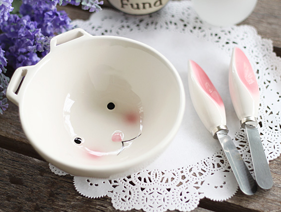 Kawaii Rabbit Ear Ceramic Bowl KW179231