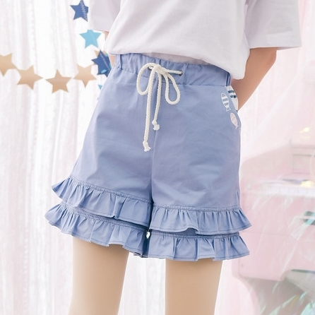 Blue Falbala Shorts