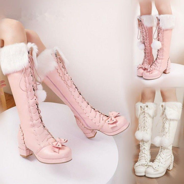 Lolita Side Zipper Bowtie Chunky Heel Leather Fur High Boots K15350 - kawaiimoristore