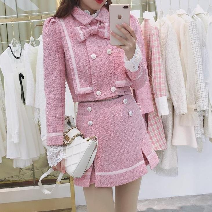 Long Sleeved Bow Jacket Top with A High Waist Skirt Suit K15339 - kawaiimoristore