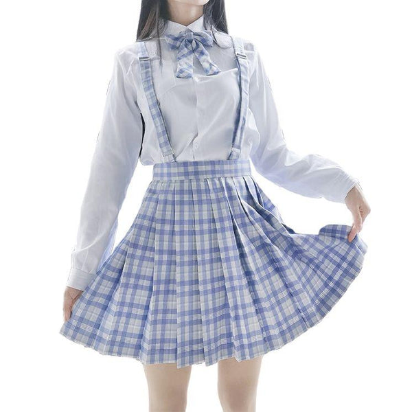 [Taro Ice Cream] White Blouse High Waist Pleated Plaid Skirts JK School Uniform KK0832 - kawaiimoristore