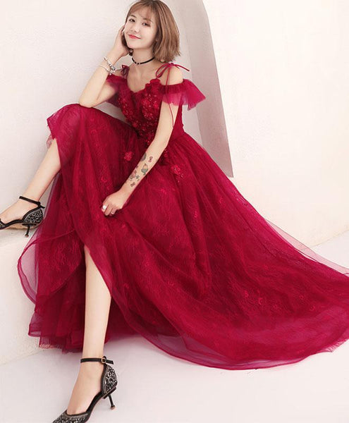 Burgundy Lace Tulle Long Prom Dress, Lace Evening Dress - DelaFur Wholesale