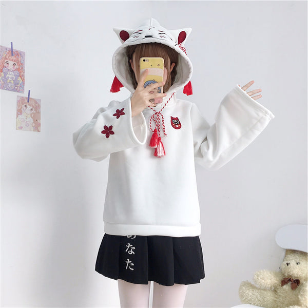 Black/White Kawaii Cartoon Ears Hoodie Jumper K13359