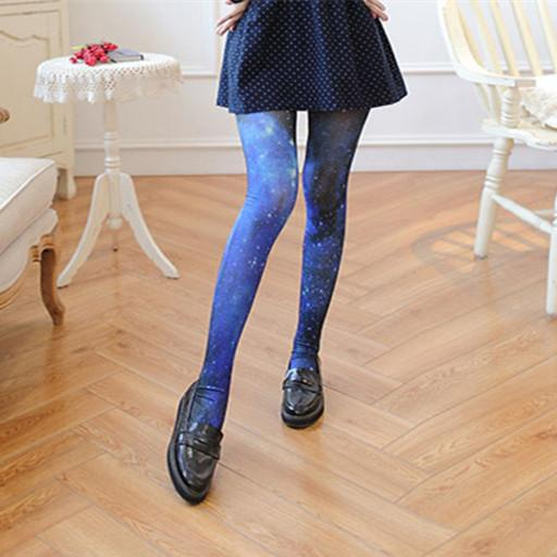 Blue Galaxy Lolita Velvet Tights K12843