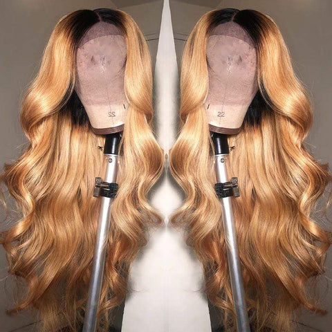 Body Wave Ombre #27 Color Highlight Lace Front Wig 100% Human Hair Wigs With Baby Hair