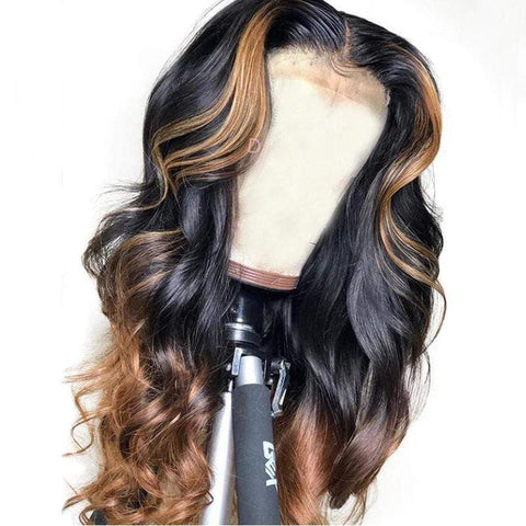 Body Wave Ombre #30 Human Hair Wig Lace Wigs Brazilian Virgin Hair High Density