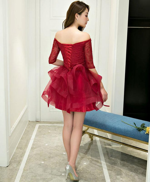 Burgundy Lace Tulle Short Pro Dress, Homecoming Dresses - DelaFur Wholesale