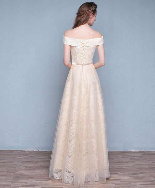 Champagne Tulle Lace Long Prom Dress, Champagne Evening Dress - DelaFur Wholesale