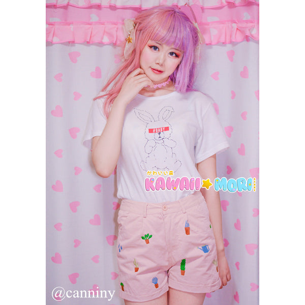 Kawaii Cactus Embroidery Shorts  KW179104