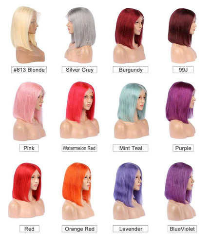 Transparent Lace 13×6 Deep Parting Short Bob Wigs For Black Women Bob Human Hair Wigs (Notes For Color )