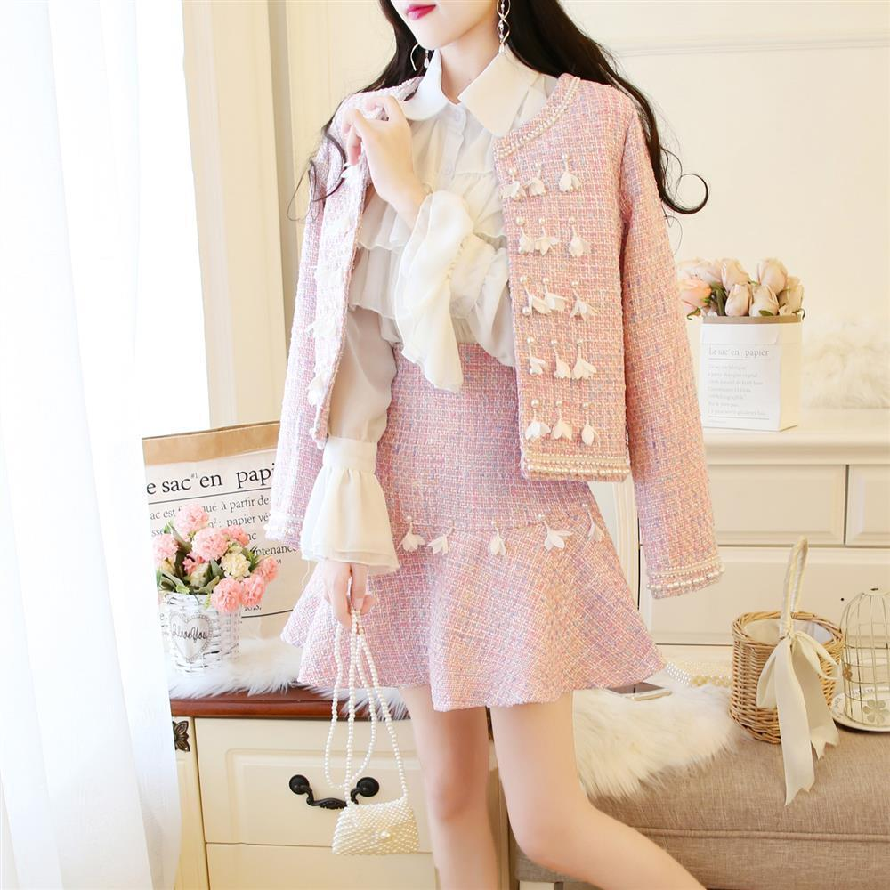 Elegant Beading Fringed Jacket With Fishtail Skirt Suit K15337 - kawaiimoristore