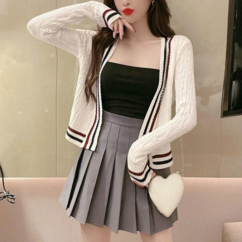 Black/White Preppy Style Stripe Cardigan Sweater K14640