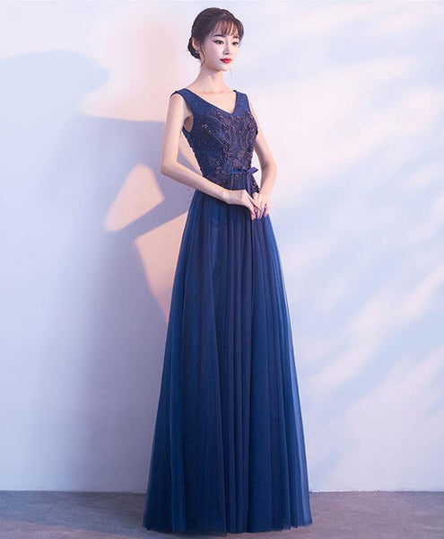 Blue V Neck Tulle Lace Long Prom Dress, Evening Dress - DelaFur Wholesale