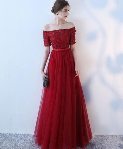 Burgundy Tulle Off Shoulder Long Prom Dress, Burgundy Eveninng Dress - DelaFur Wholesale