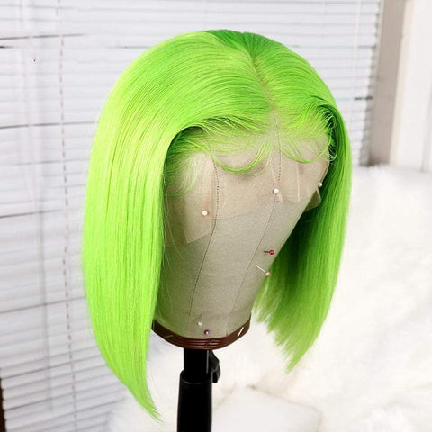 Green Short Bob Human Hair Lace Front Wig Colored by 613 Hair Full End Free Parting