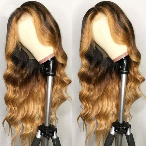 Highlights Human Hair Lace Front Wig Wavy Ombre Brown High Density Pre Plucked