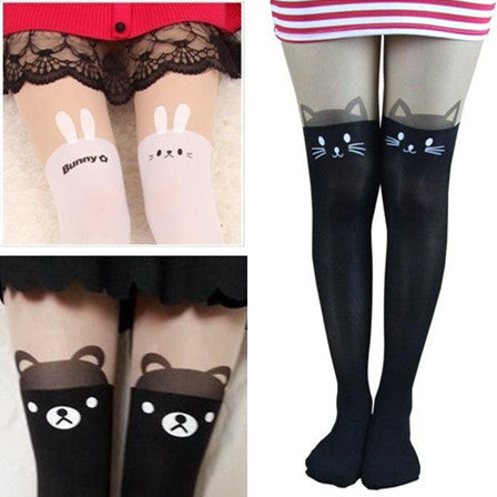 Cat Bear Rabbit Fake Over Knee Silk Tights KW130034