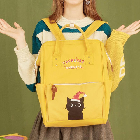 Cute Kitty Week Letter Print Backpack Schoolbag KK0984 - kawaiimoristore