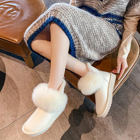 Fluffy Waterproof Inner Fleece Snow Boots KK0869 - kawaiimoristore