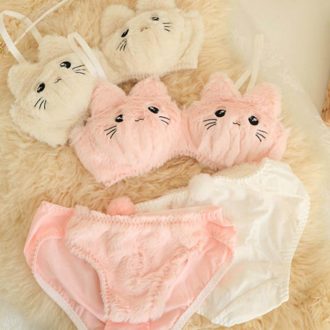 Kitty Ears Cartoon Cute Plush Lingerie Set K15527 - kawaiimoristore