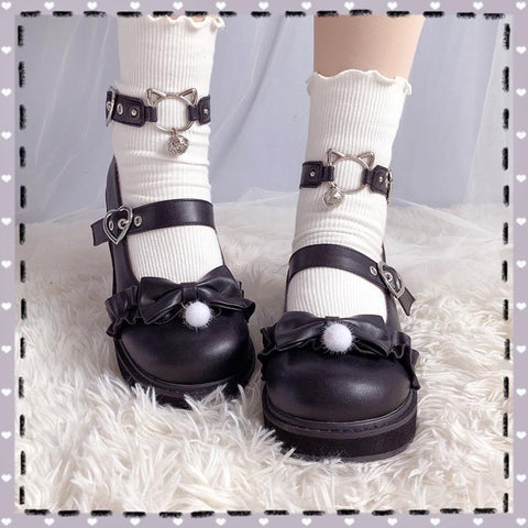 Bow Love Heart Buckle Kitty Mary Janes Shoes SS0572 - kawaiimoristore