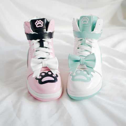 Lolita Love Heart Buckle Cat Claw Bowknot High Top Shoes K15269 - kawaiimoristore