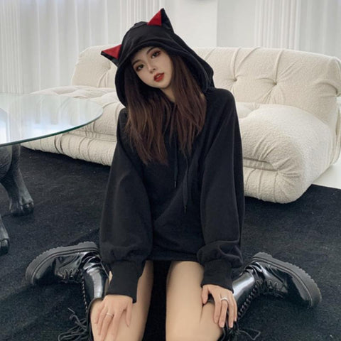 Cat Ears Oversized Hoodie K15384 - kawaiimoristore