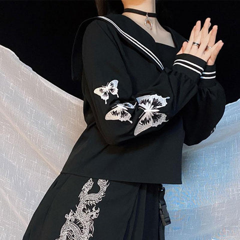 Butterfly Embroidery Sailor Collar Sweatshirt SS0567 - kawaiimoristore