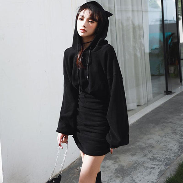 Letter Embroidery Cute Cat Ears Drawstring Hoodie Dress K15498 - kawaiimoristore