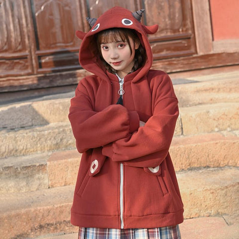Lucky Calf Ears Embroidery Zipper Hooded Jacket with Back Pocket KK0871 - kawaiimoristore