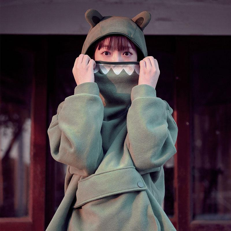 Frog Eyes Zipper Pocket Oversized Hoodie KK0836 - kawaiimoristore
