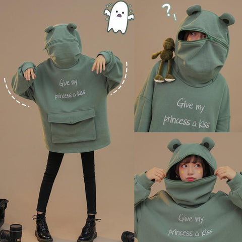 Give My Princess A Kiss Letter Embroidery Frog Zipper Pocket Oversized Hoodie K15062 - kawaiimoristore