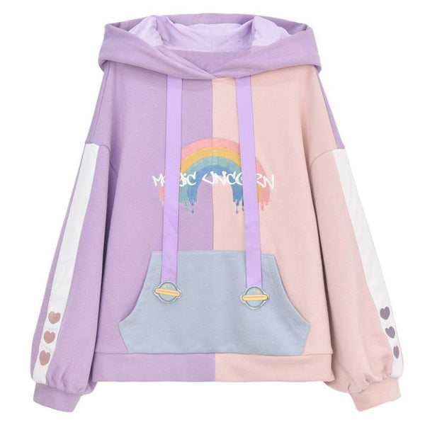 Unicorn Ears Wings Rainbow Love Heart Hoodie Pullover K15440 - kawaiimoristore