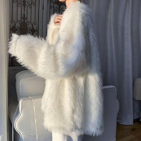 Fuzzy Pure Color Oversized Knitted Sweater K15453 - kawaiimoristore