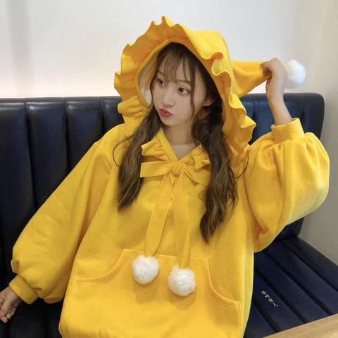 Yellow/Red Fluffy Ball Ruffle Hoodie Jumper