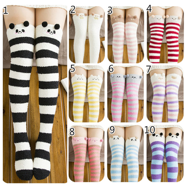 Cutie Animal Fleece Thigh High Long Socks KW154247