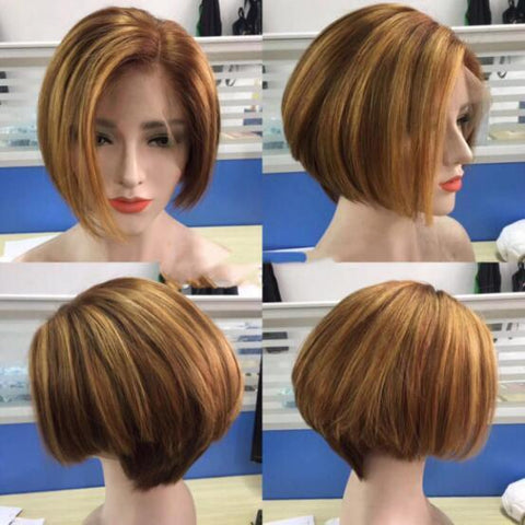 Ombre Human Hair Bob Lace Wig Short Bob Lace Wig For Summer Highlight