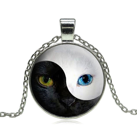 Unique YIN YANG Cat Pendant Necklace