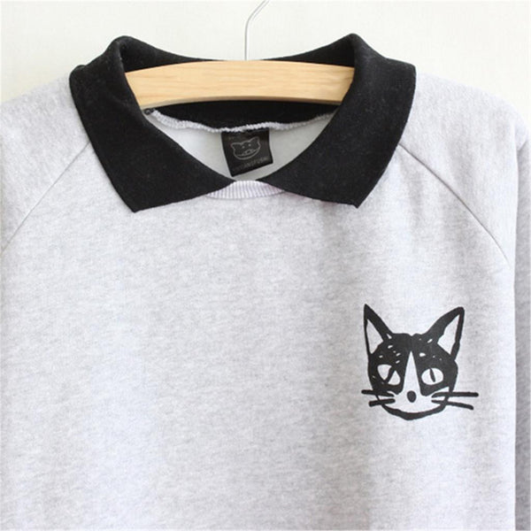 Cute Cat Printed Loose Hoodies