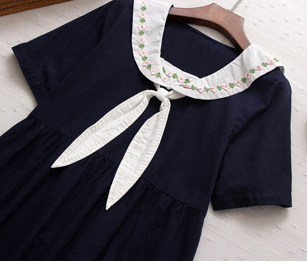 Cute Rabbit Ears Sailor Collar Short  Sleeve Dress KW179014