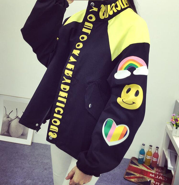 Korean Harajuku Style Cartoon Printing Loose Jacket KW179813