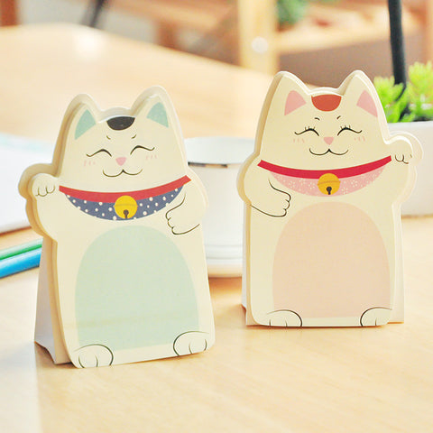 Cute Lucky Cat Stand Memo Pads Paper Stick Message Sticker