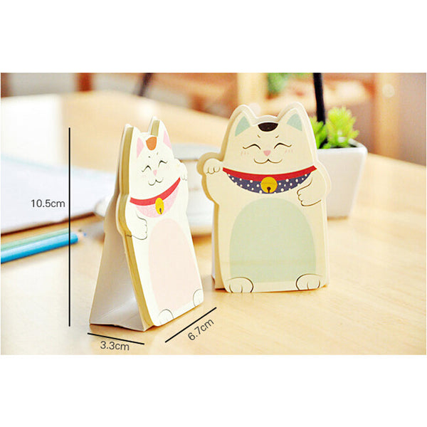 Cute Lucky Cat Stand Memo Pads Paper Stick Message Sticker KP13381